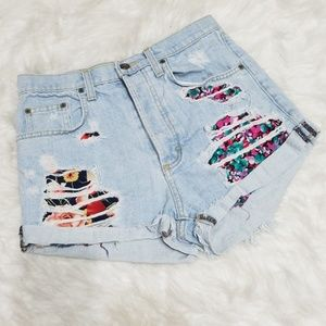 Carmar high waisted button fly distressed shorts